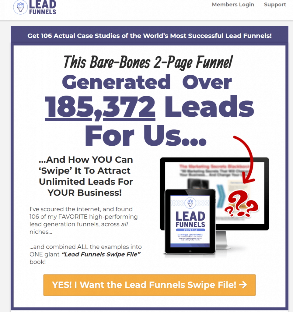 Lead Funnels Swipe File Review